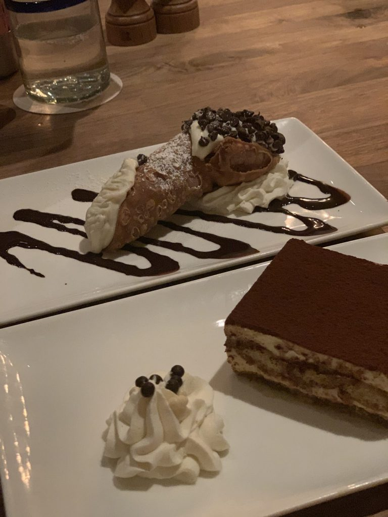 Cannoli and Tiramisu dessert at Enzo's Hideaway Disney Springs