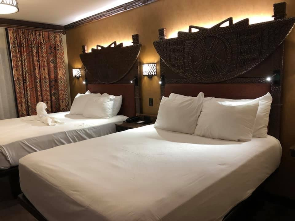 Queen beds at Animal Kingdom Lodge