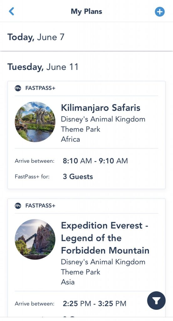 Screenshot your days plans at Magic Kingdom - Touring plan