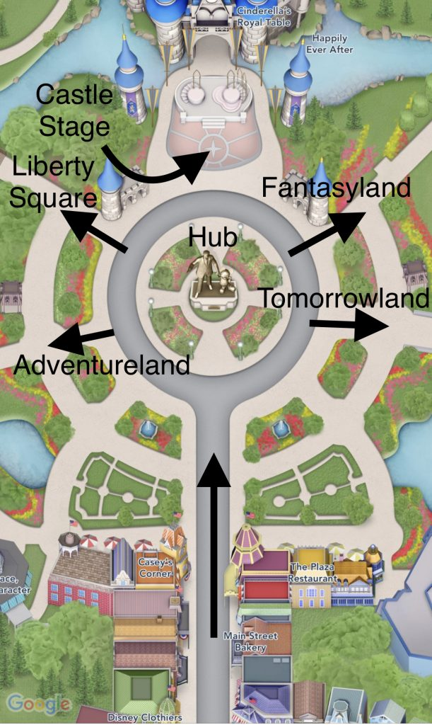 Map of Hub and rope drop locations at Magic Kingdom