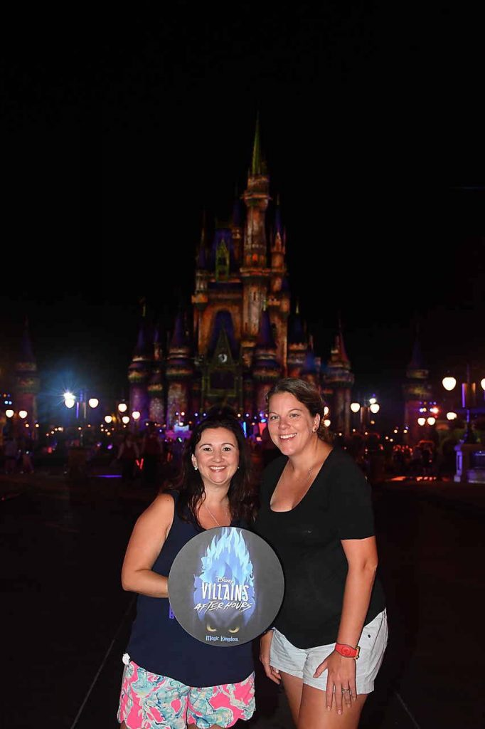 Disney's Villains After Hours event castle photopass shot