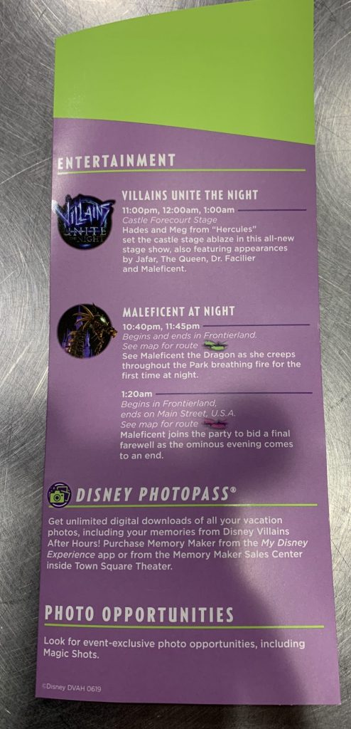 Disney's Villains After Hours map with entertainment and photopass opportunities