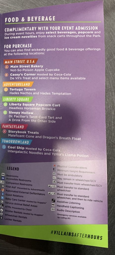 Disney's Villains After Hours event map with food and beverage stations