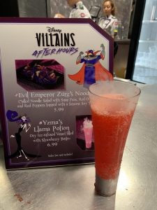 Evil Emperor Zurgs Noodles and Yzmas Llama Potion at Disney's Villains After Hours