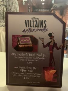 Dr. Faciliers Tarot Card Tart and A Drink From the Other Side at Disney's Villains After Hours
