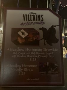 Headless Horsemand Brownie and Headless Horseman Novelty Straw at Disney's Villains After Hours