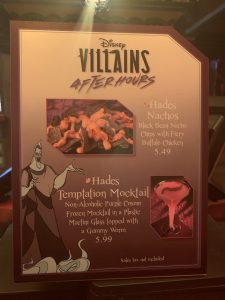 Hades Temptation Mocktail and Nachos sign at Disney's Villains After Hours
