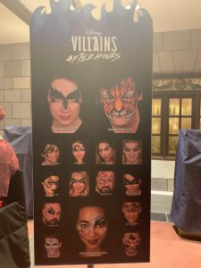Disney's Villains After Hours event face painting options