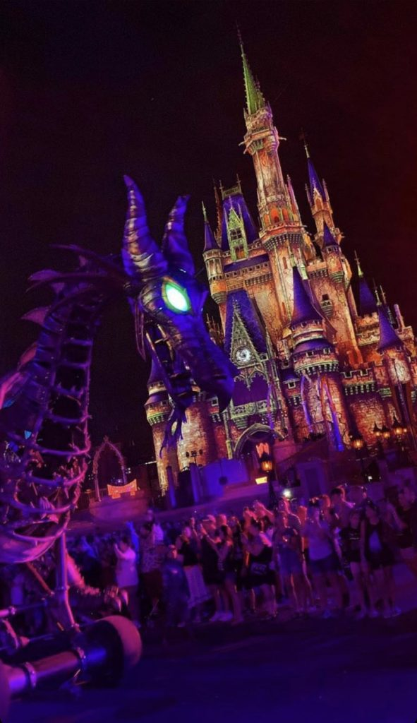 Maleficent at night at the Disney Villains After Hours event