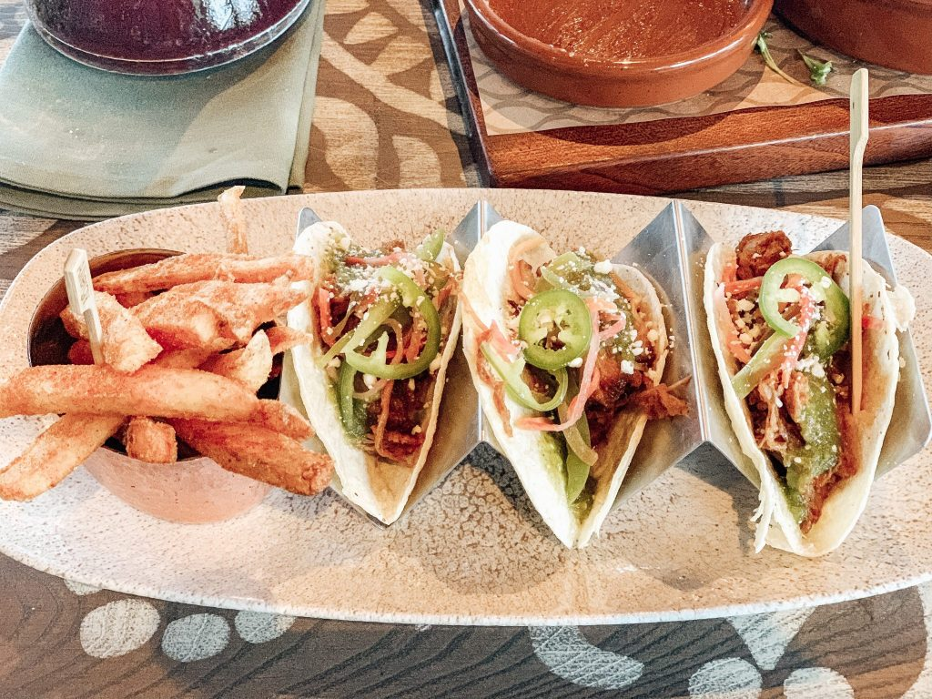 pulled pork tacos at Villa Del Lago Restaurants at Disney World