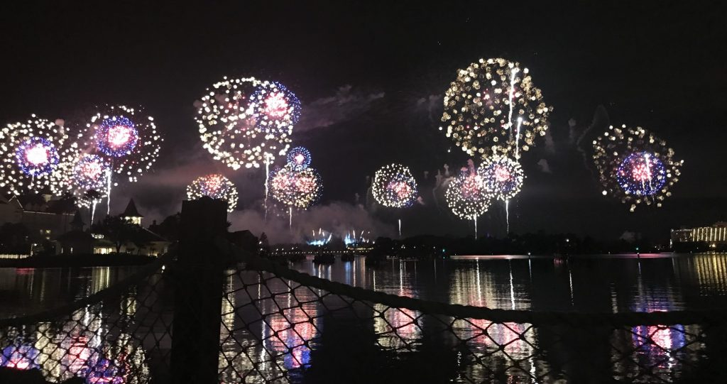 Magic Kingdom fireworks from Disneys Polynesian Resort beach