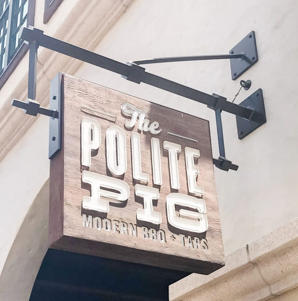 The Polite Pig sign restaurants at Disney World