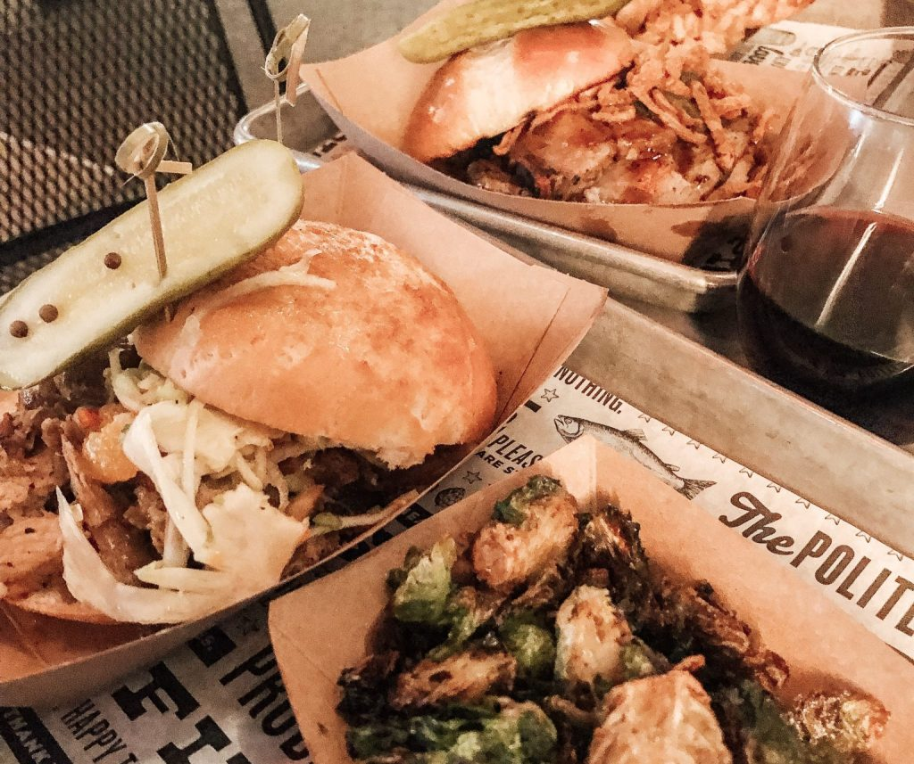 The Southern PIg Sandwich and crispy brussel sprouts at the Polite Pig