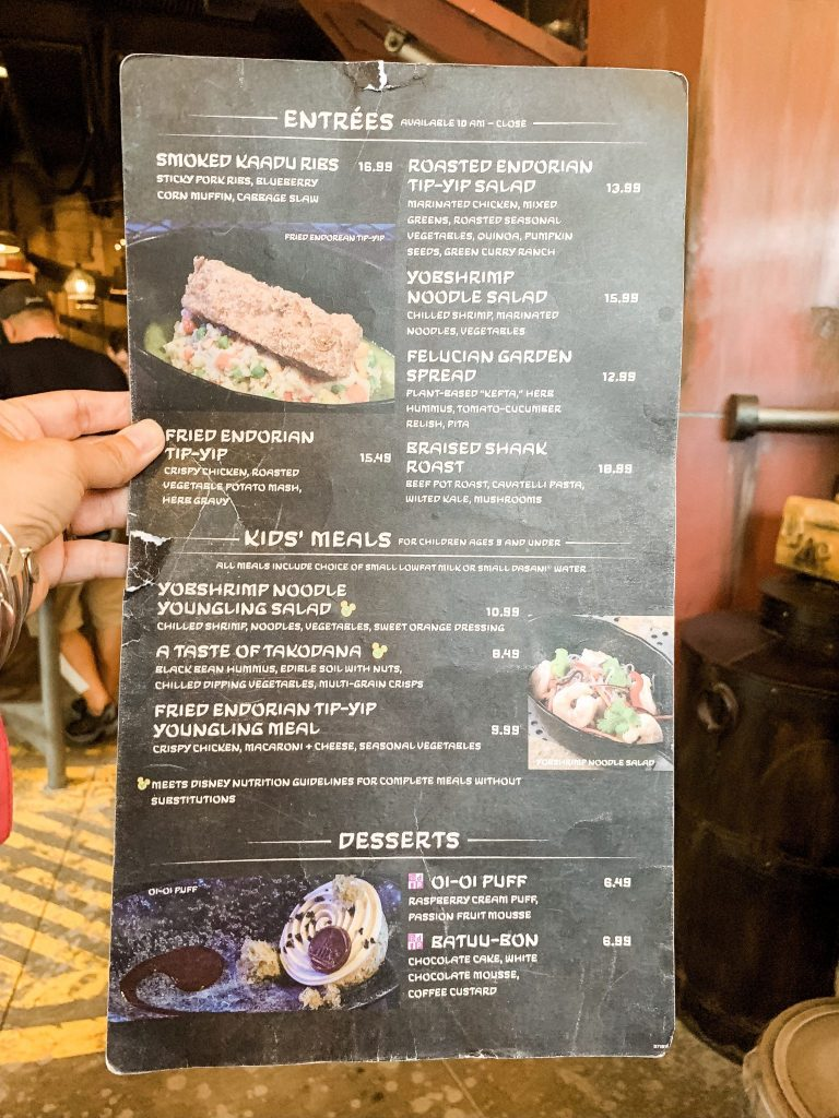 Lunch and dinner menu at Docking Bay 7 Star Wars Galaxy's Edge