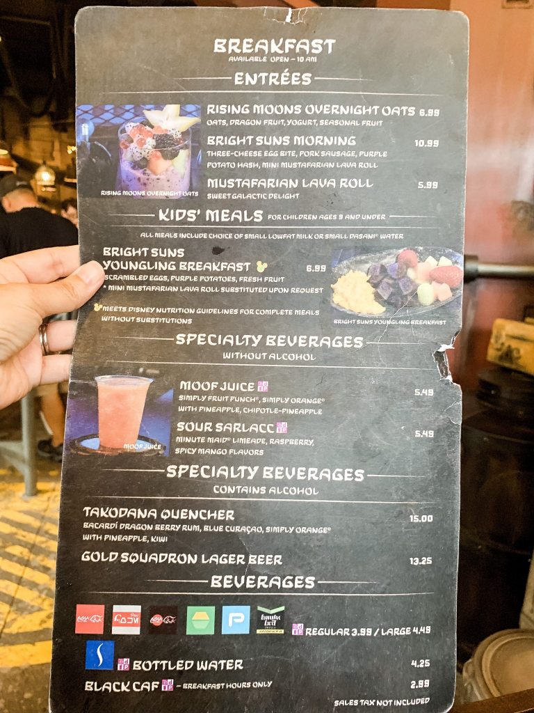 Breakfast menu at Docking Bay 7 Star Wars Galaxy's Edge