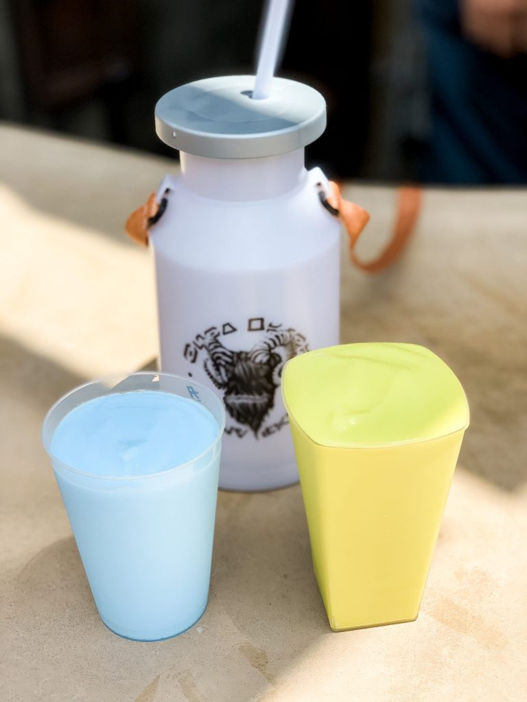 Blue Milk and Green Milk at Star Wars Galaxys Edge