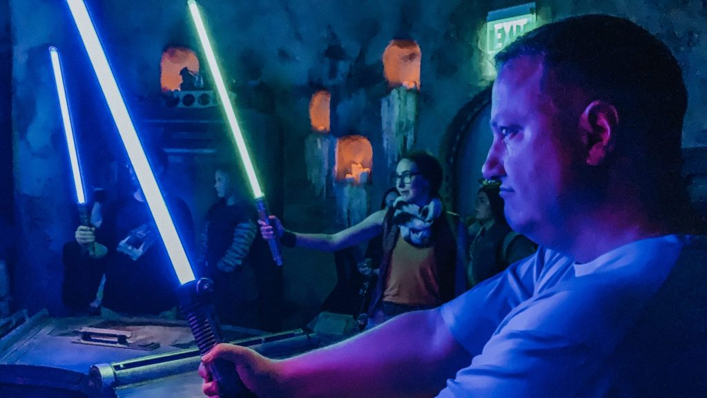 My buddy Rob after buidling his lightsaber at Savi's Workshop at Star Wars Galaxy's Edge
