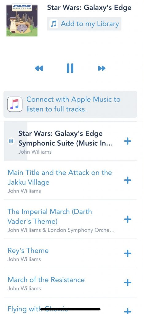 Star Wars music on play Disney parks app