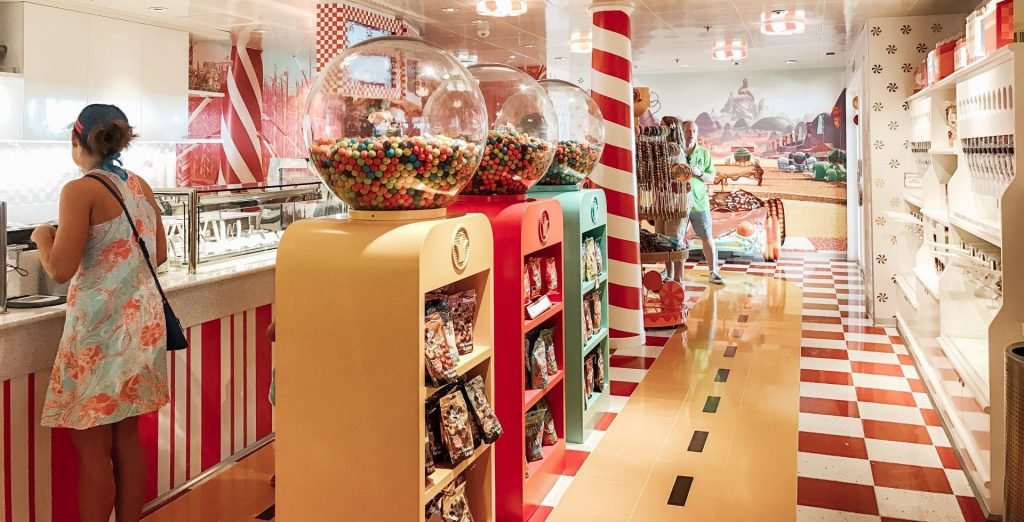 candy selection at Vanellope's Sweets & Treats  on Disney Cruise Line