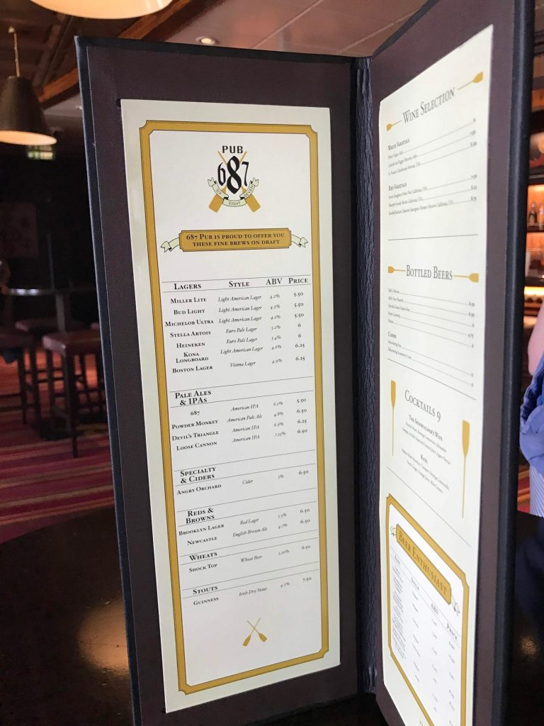 Pub 687 menu on Disney Cruise Line