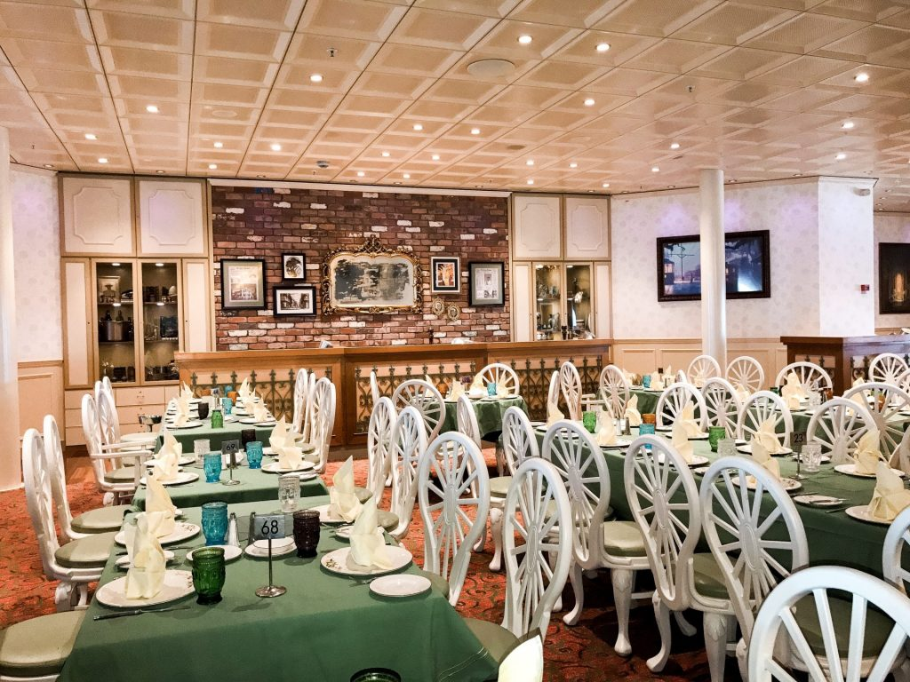 Dining area at Tiana's Place on Disney Cruise Line