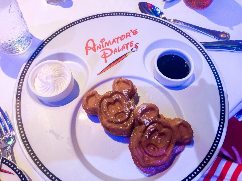 Mickey waffles during Character Dining on Disney Cruise Line