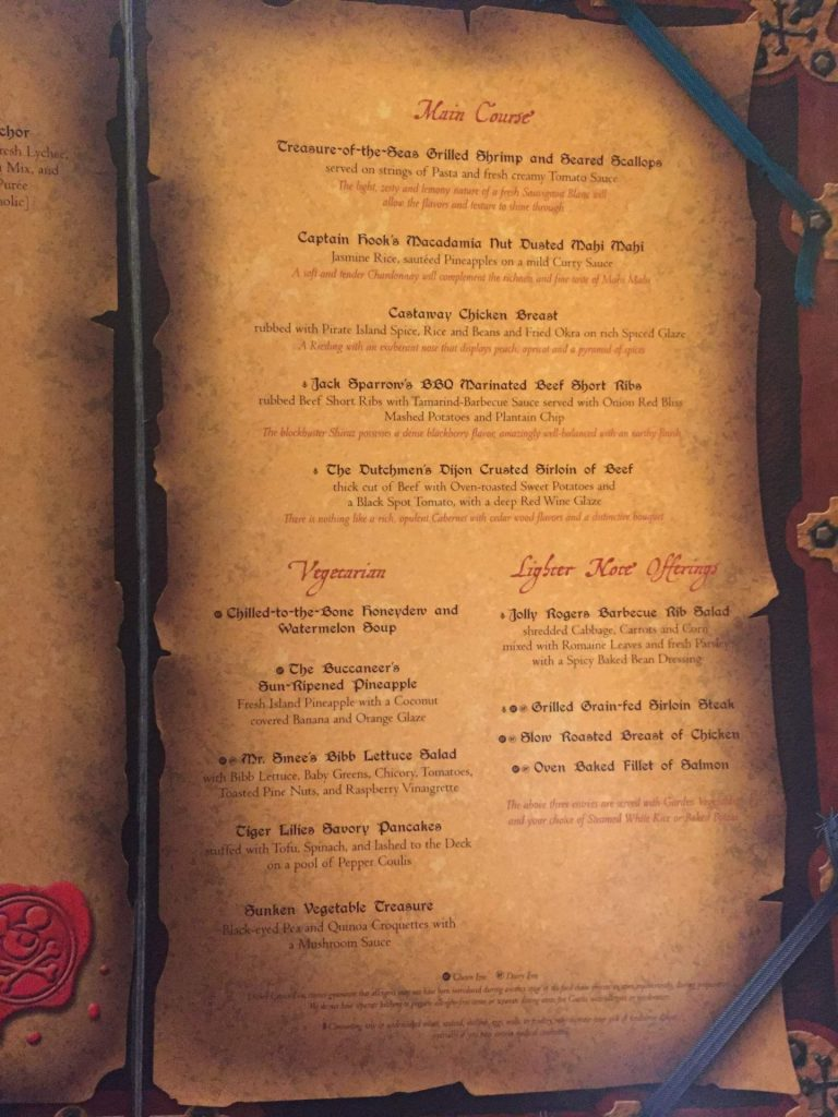main course menu on Disney Cruise Line