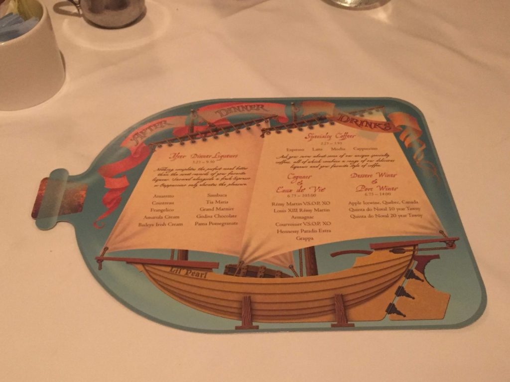 after dinner drinks menu on Disney Cruise Line