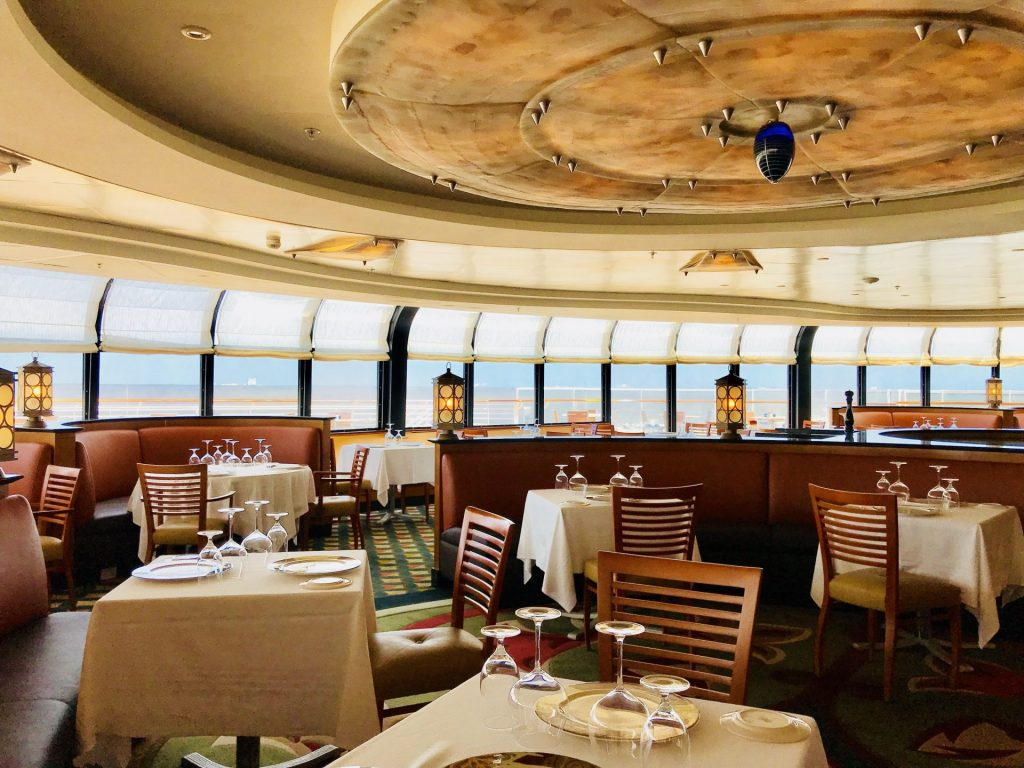 dining area at Palo on Disney Cruise Line