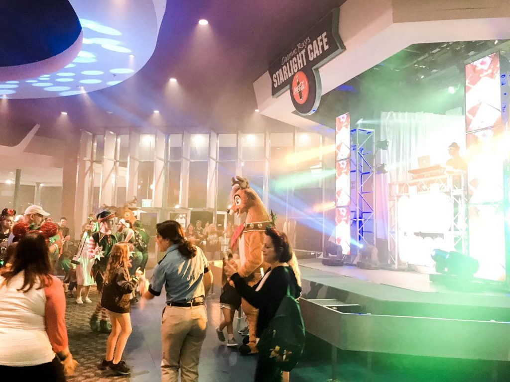 Club Tinsel dance party at Tomorrowland Mickey's Very Merry Christmas Party meet Rudolph and the Polar Bears