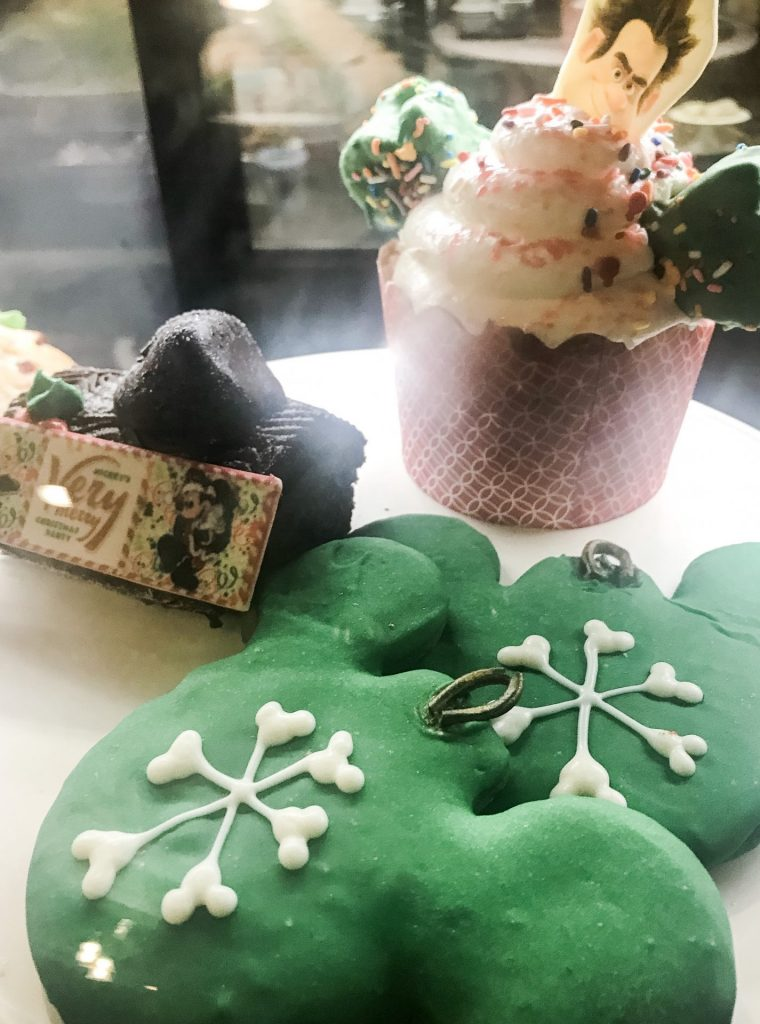 Cupcake and Christmas treats at Main Street Bakery Starbucks Mickey's Very Merry Christmas Party treat stations