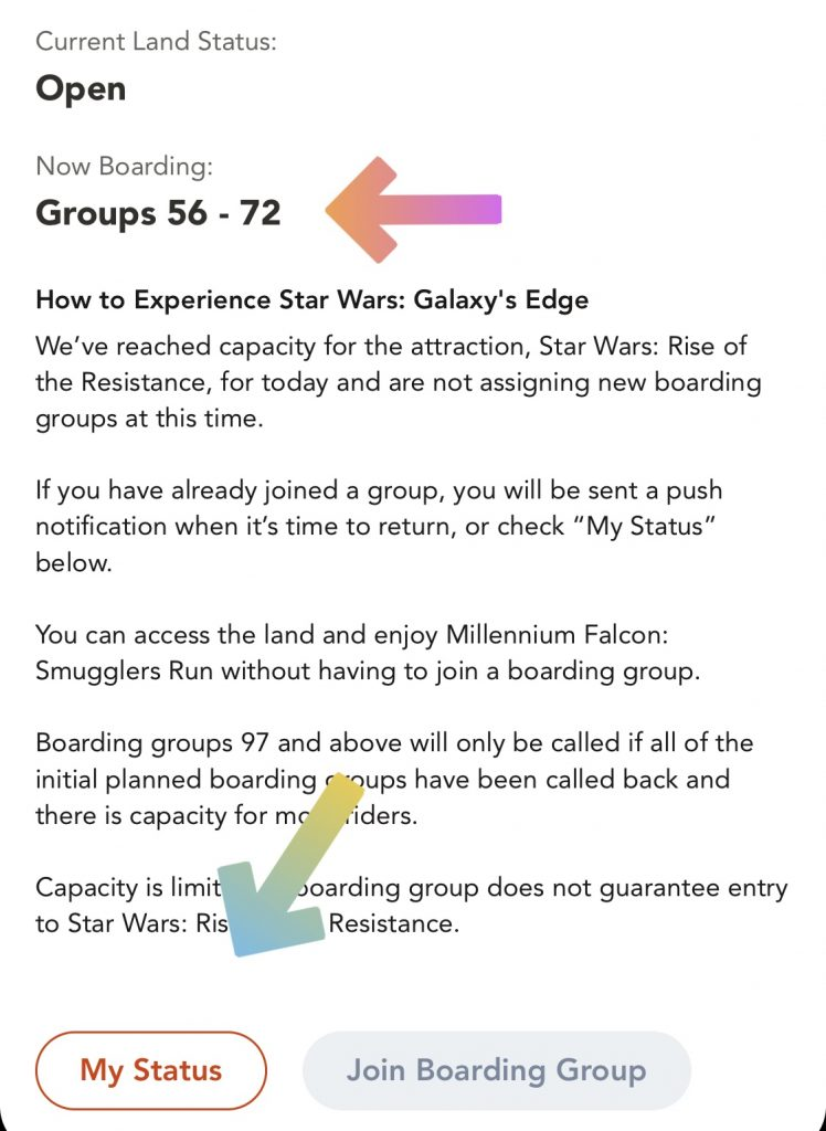 See when your Boarding Group is being called in your My Disney Experience app