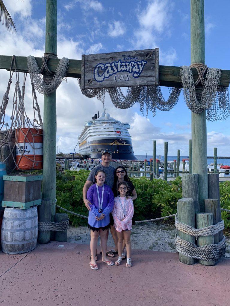 Family at Castaway Cay Disney Cruise for birthday