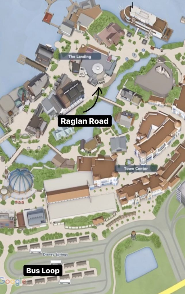 map of Disney Springs and Raglan Road location