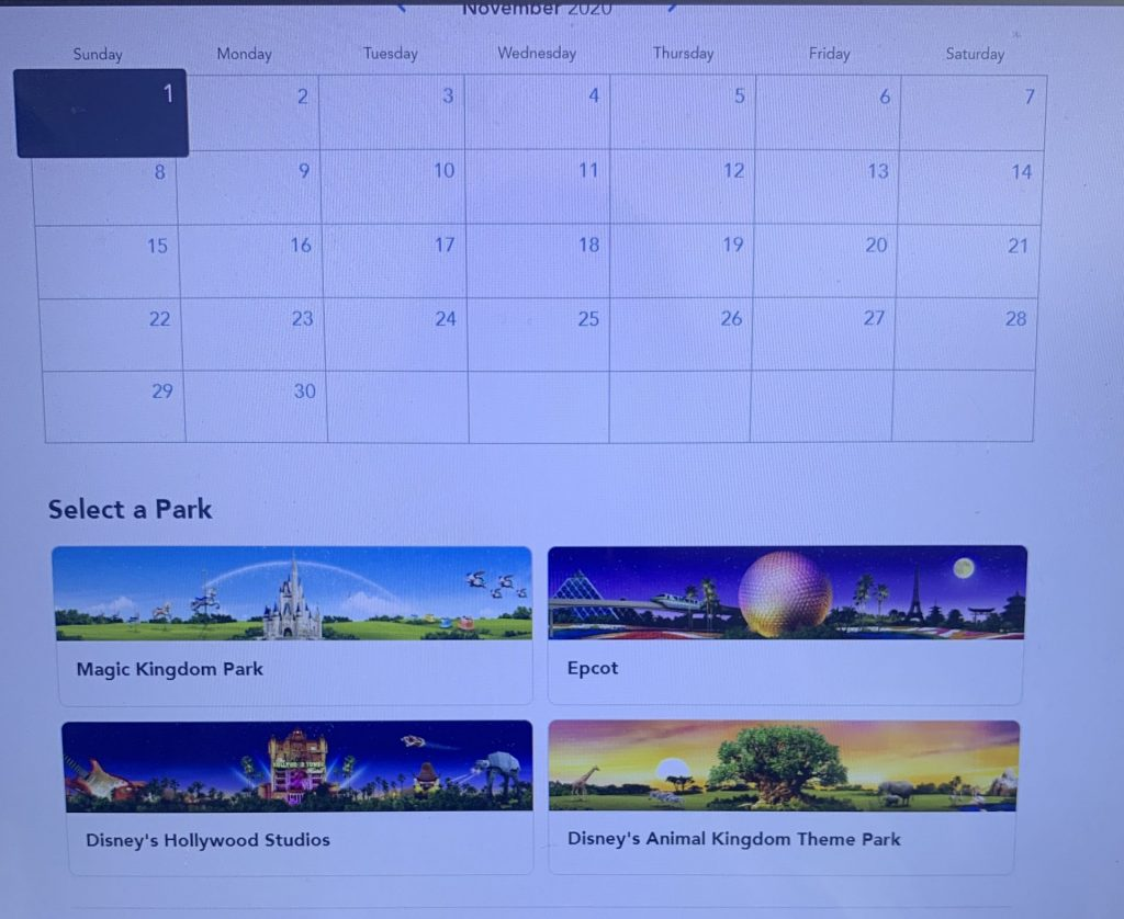 Calendar and park selection