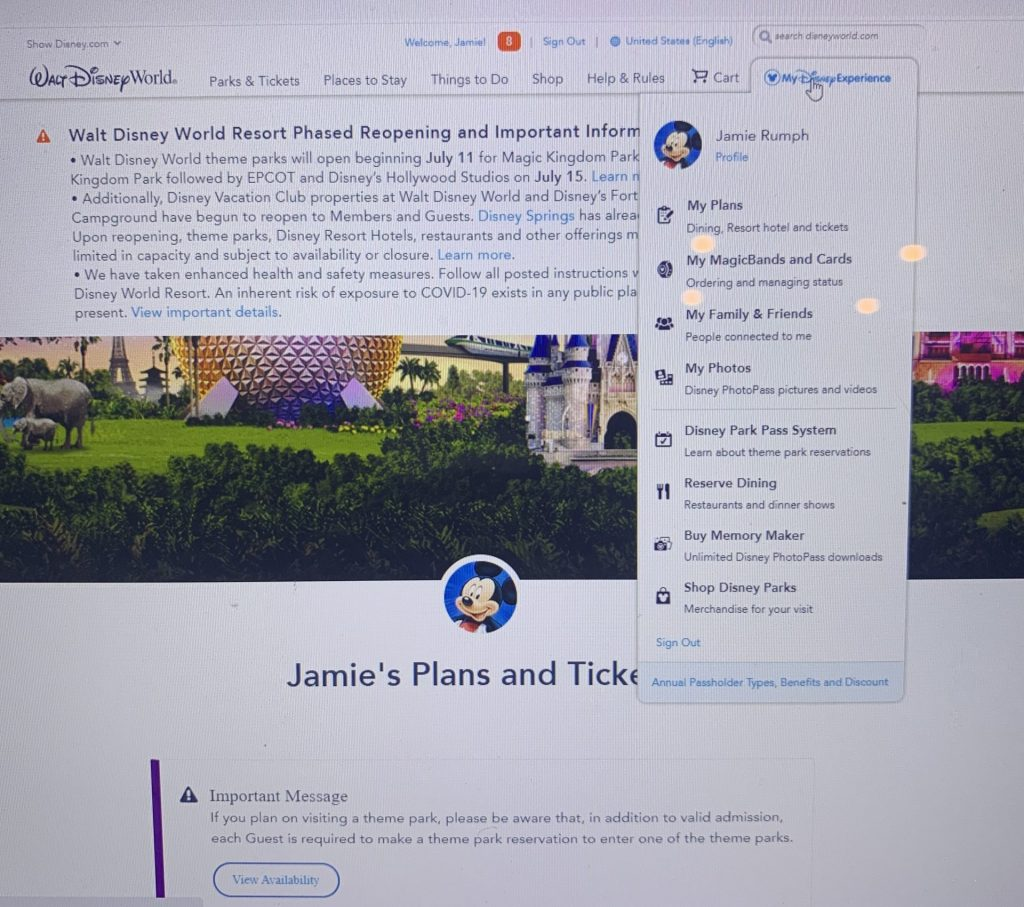 My Disney Experience account overview