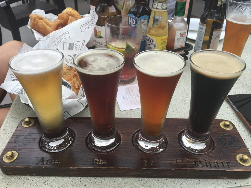 Beer flight at Raglan Road Irish Pub at Disney Springs