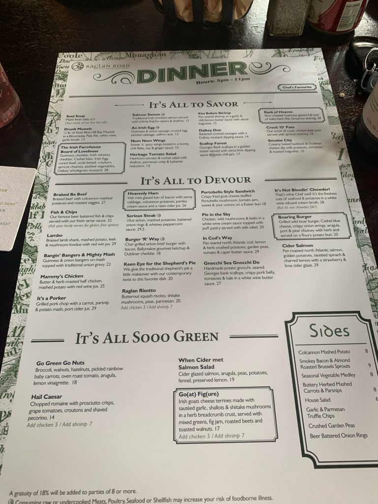 Dinner Menu at Raglan Road Irish Pub Disney Springs
