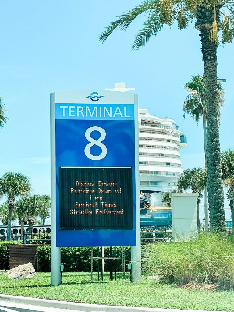 Disney Cruise Line Cruise terminal 8 arrival information sign Port Canaveral