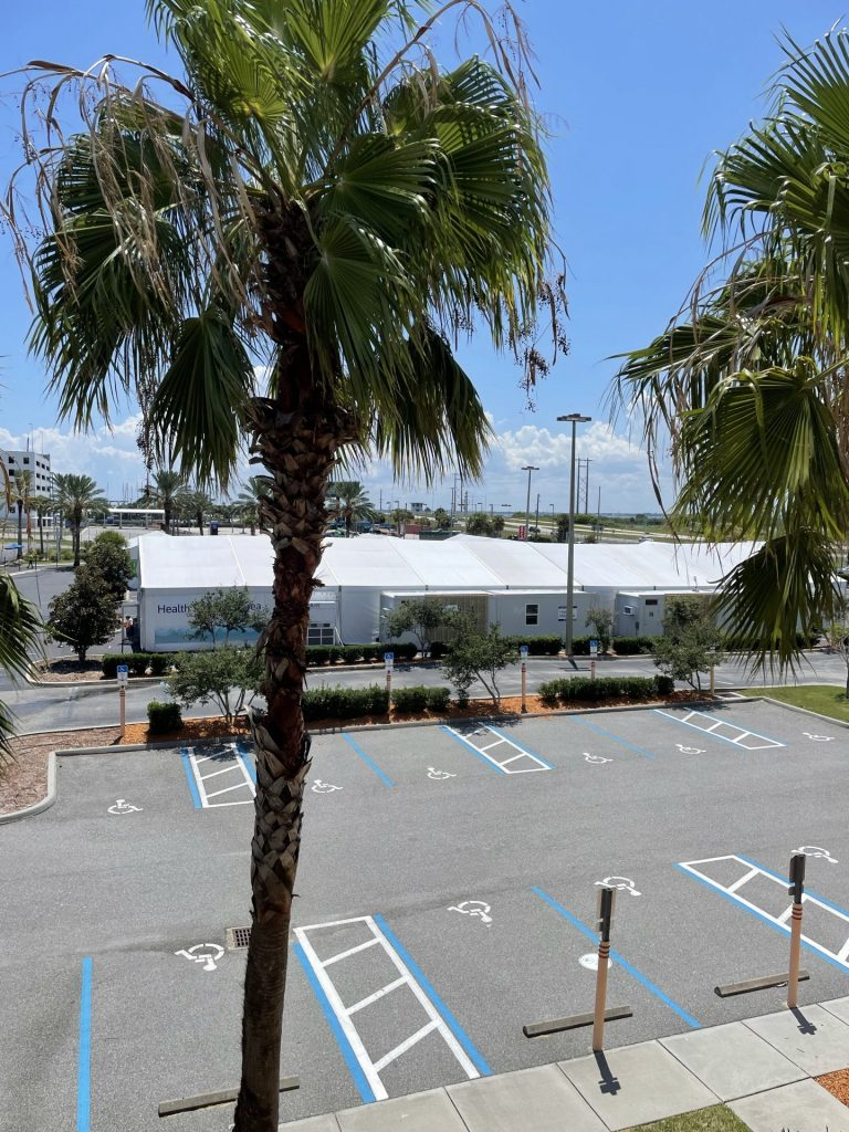 Covid testing tents at Port Canaveral - Disney Cruise Line