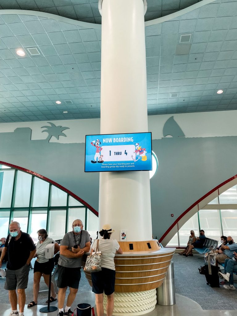 Disney Cruise Line Boarding Groups called in Cruise Port Terminal